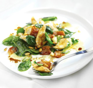 warm chicken bacon spinach salad cropped