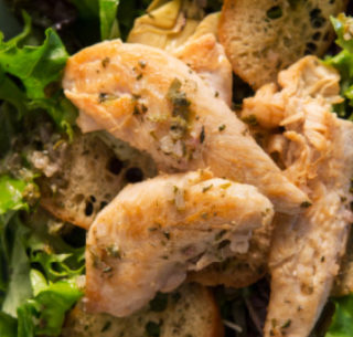 warm lemon rosemary chicken shallot caper dressing salad cropped